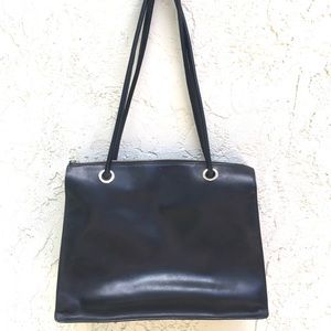 Franklin Covey leather tote purse laptop bag black